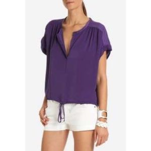 BCBG MaxAzria New Purple Silky V Neck Top